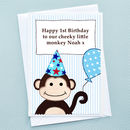 'Monkey' Personalised Boys Birthday Card