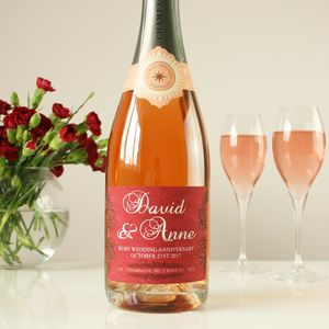 Ruby 40th Wedding Anniversary Personalised Champagne - 40th anniversary: ruby