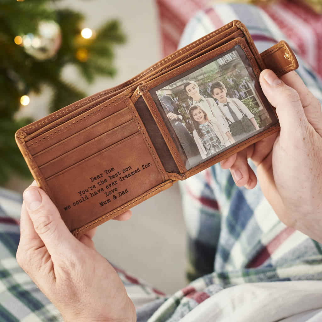 Personalised Leather Tri Fold Wallet With Rfid