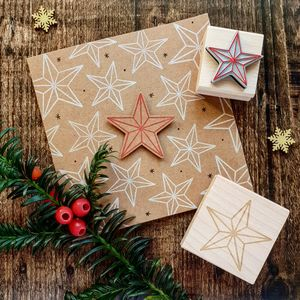 Christmas Bevelled Star Rubber Stamps - stamps & inkpads