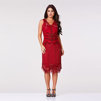Elsa Midi Length Art Deco Flapper Dress In Red