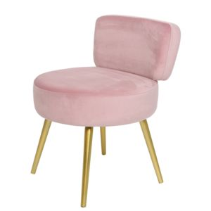 Pink Velvet Stool With Backrest - stools