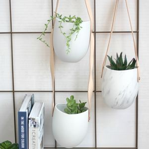 Hanging Leather And Marble Planter - pots & planters