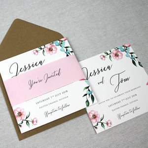 'The Jessica' Floral Watercolour Wedding Invitation - wedding stationery