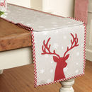 Winter Deer Long Cotton Christmas Table Runner