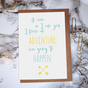 'Adventure Was Going To Happen' Greetings Card - blank cards