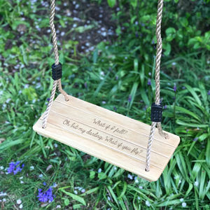 Personalised Traditional Wooden Swing - summer sale