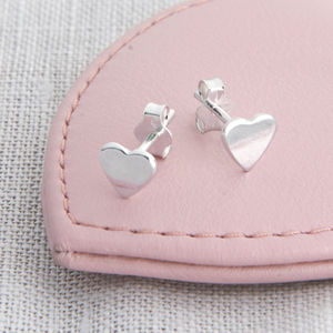 Girls Tiny Sterling Silver Heart Earrings - christening jewellery