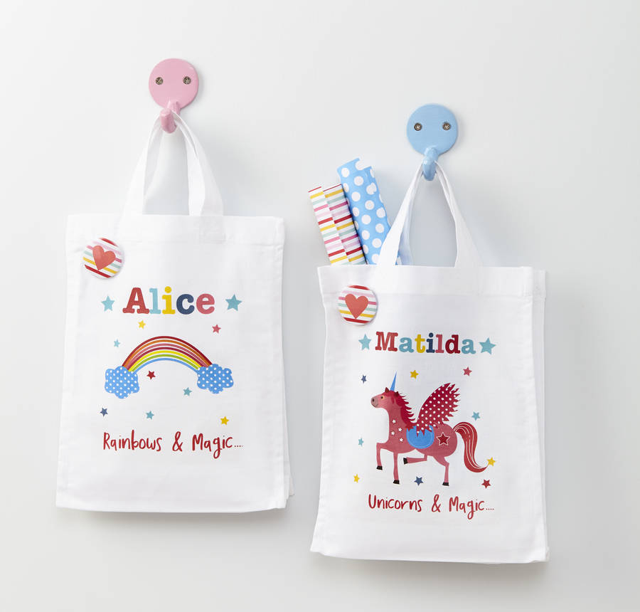 Girls Personalised Unicorn Or Rainbow Mini Bag