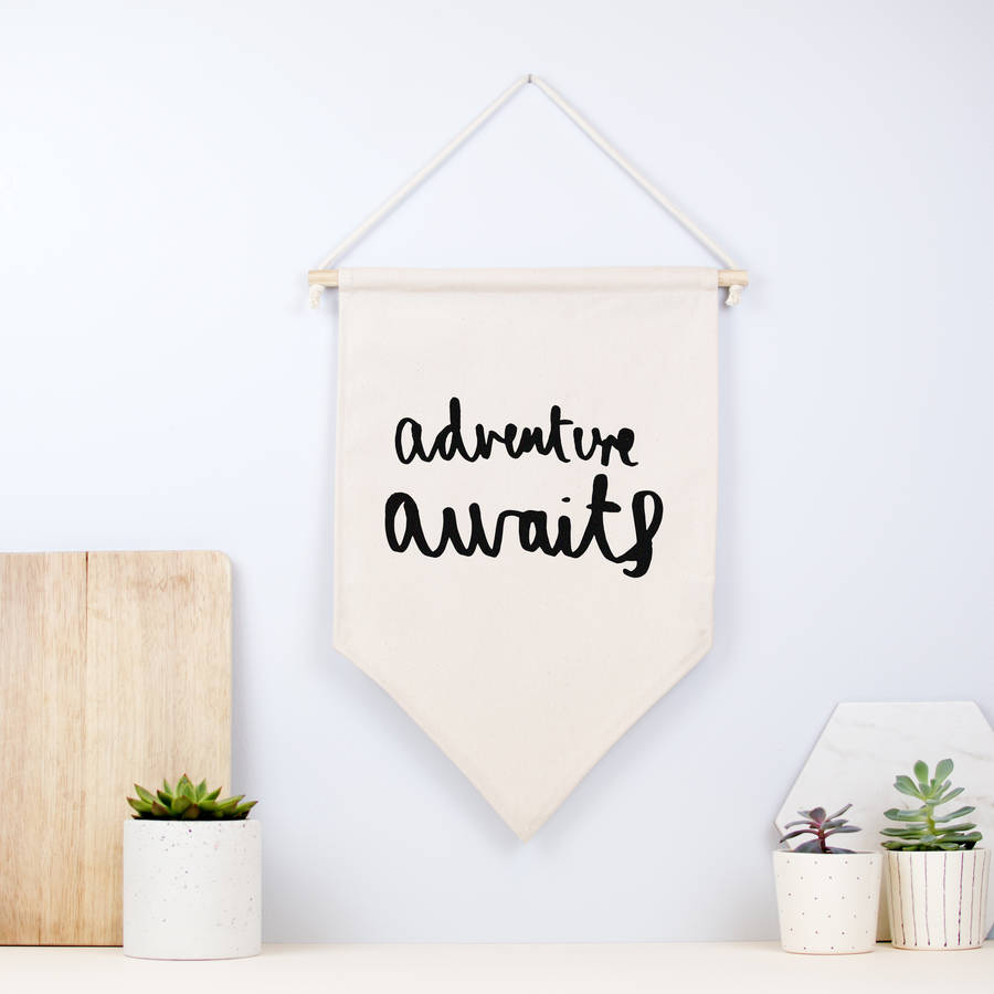 Adventure Awaits Fabric Hanging Wall Banner