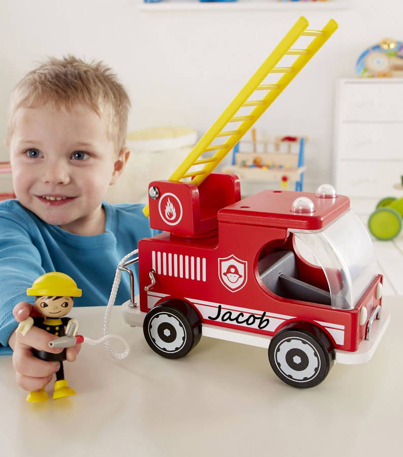 Personalised Wooden Fire Engine And Fireman