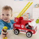 Wooden Fire Engine And Fireman