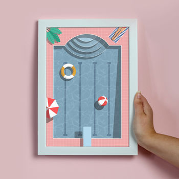 Retro Swimming Pool Illustrated Holiday Print