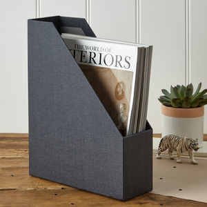 Magazine File In Linen - living room