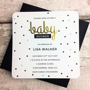 Personalised Dotty Baby Shower Invitations - invitations