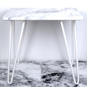 White Marble Side Table With Hairpin Steel Legs - children's furniture