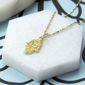 Gold Plated Sterling Silver Fatima Hand Necklace