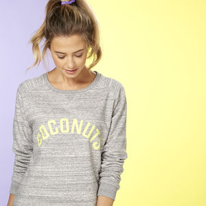 Coconuts Sweatshirt With Citrus Yellow Print - gifts for her sale