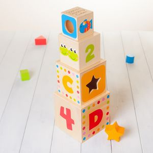 Childrens Wooden Personalised Stacking Cubes - baby toys