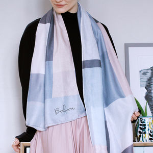 Personalised Colour Block Print Scarf