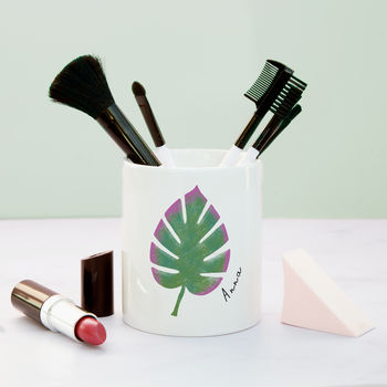 Monstera Leaf Personalised Make Up Brush Pot