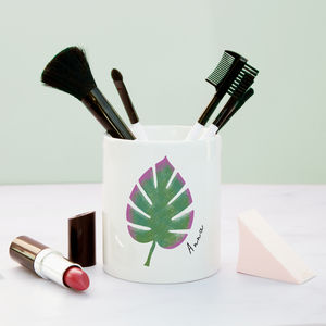 Monstera Leaf Personalised Make Up Brush Pot - health & beauty sale