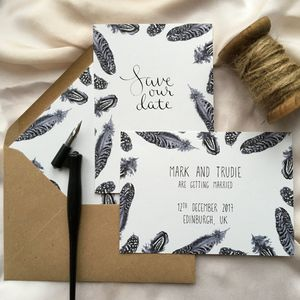 Monochrome Feather Illustrated Save The Date Cards - save the date cards