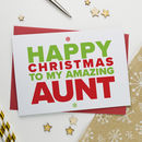 Christmas Card For Amazing Aunt, Auntie Or Aunty