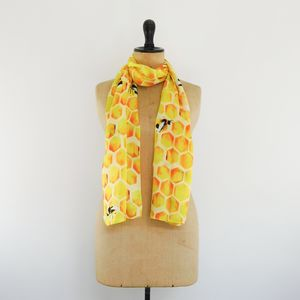 Mellifera Honeybee Print Luxury Silk Satin Scarf