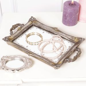 Ornate Metallic Mirrored Tray