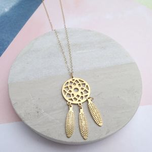 24k Gold Plated Dreamcatcher Necklace - necklaces & pendants