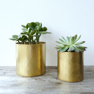 Set Of Two Metal Planter Pots - 50th anniversary: gold