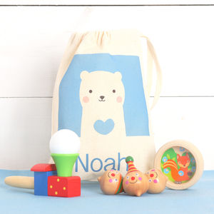 Traditional Wooden Toy Set And Personalised Bag