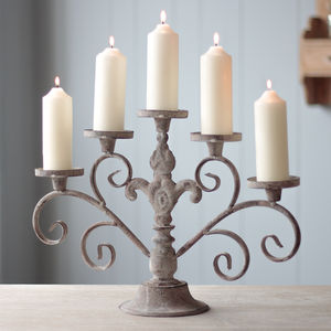 Gothique Elegance Distressed Iron Candelabra