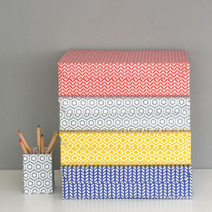 Recycled Geometric A4 Storage Box File - planning & organising