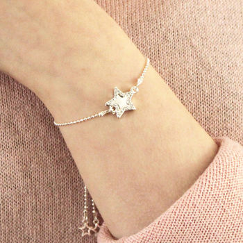 close up of diamante star personalised bracelet
