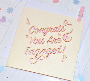 Laser Cut 'Congrats You Are Engaged' Card - summer sale