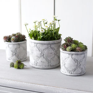 Grey And White Patterned Cement Pot - pots & planters