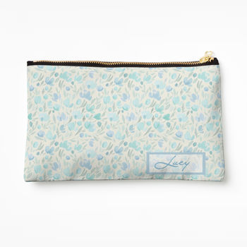 Personalised Blue Floral Cosmetics Bag
