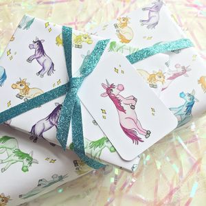 Unicorn Gift Wrap With Tags - wrapping paper