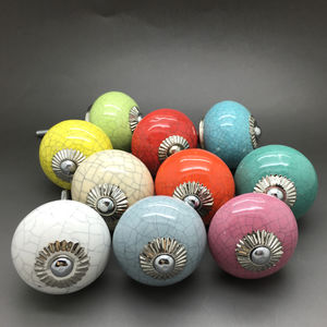 Crackle Ceramic Door Knobs Cupboard Pull Handles - home decorating