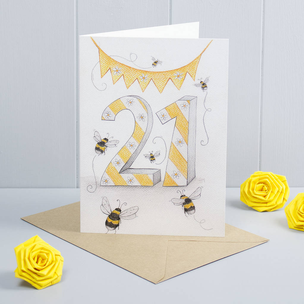 Happy 21st birthday greeting card bumble bees by yellow rose design happy 21st birthday greeting card bumble bees bookmarktalkfo Image collections