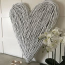 Extra Large White Wicker Love Heart