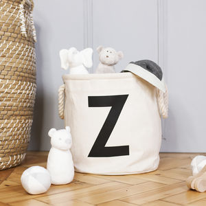Personalised Initial Canvas Storage Basket - laundry bags & baskets