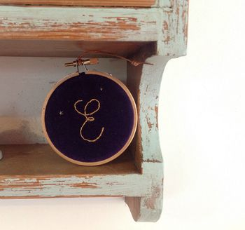 Personalised Velvet Embroidered Hanging