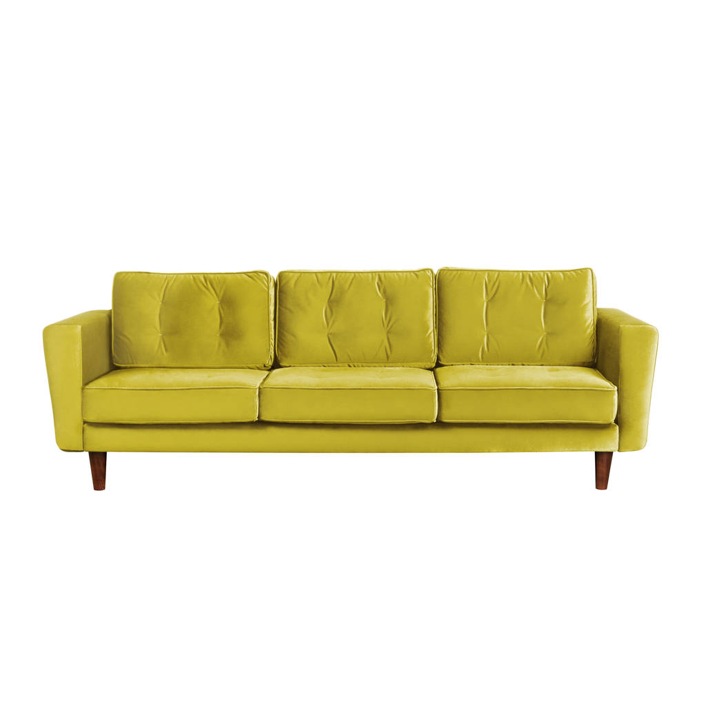 new york velvet three seater sofa by i love retro rh notonthehighstreet com