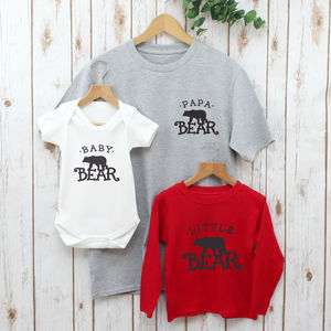 Father's Day Papa Bear Daddy Family T Shirts Set