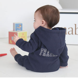 Personalised Hooded Jersey Onesie Navy - clothing