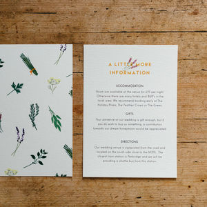 Herb Garden Wedding Information Cards