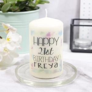 Personalised Happy Birthday Candle - 21st birthday gifts